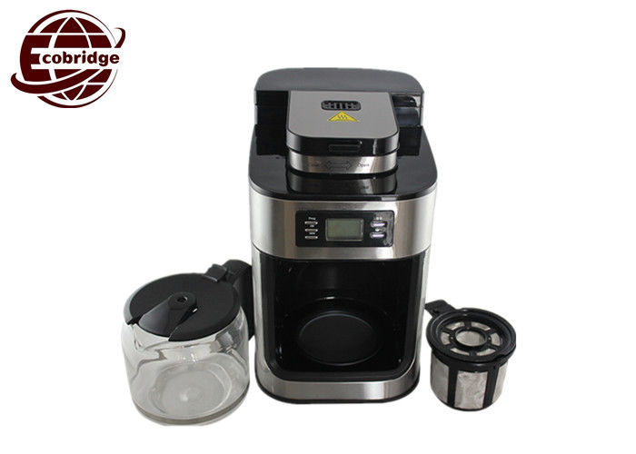 Digital 1.25 Liter Filter Drip Coffee Maker With Grinder OEM Family 300*200*310mm